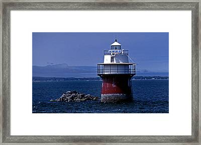 Duxbury Pier Lighthouse Ma Framed Print by Skip Willits