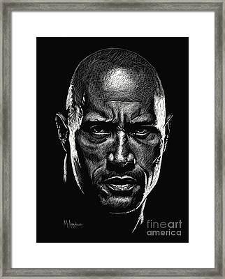 Dwayne Johnson Framed Print by Maria Arango
