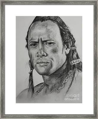 Dwayne Johnson Framed Print by Myrna Barton