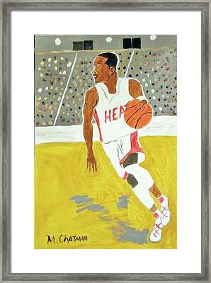 Dwayne Wade Framed Print by Michael Chatman