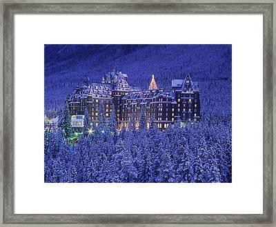 D.wiggett Banff Springs Hotel In Winter Framed Print