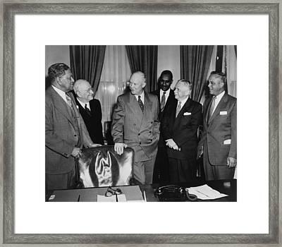Dwight D. Eisenhower, Meeting Framed Print by Everett