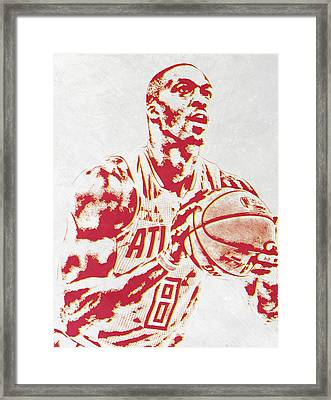 Dwight Howard Atlanta Hawks Pixel Art Framed Print by Joe Hamilton