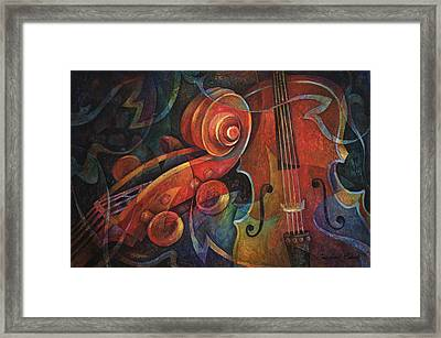 Dynamic Duo - Cello And Scroll Framed Print by Susanne Clark