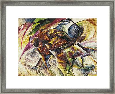 Dynamism Of A Cyclist Framed Print by Umberto Boccioni