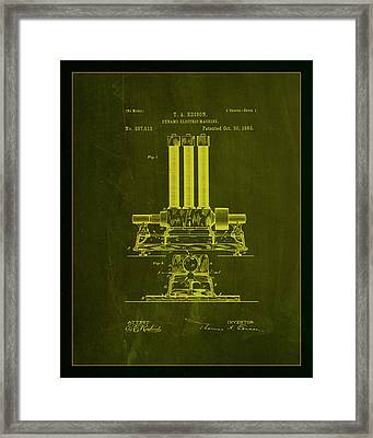 Dynamo Electric Machine Patent Drawing 1a Framed Print by Brian Reaves