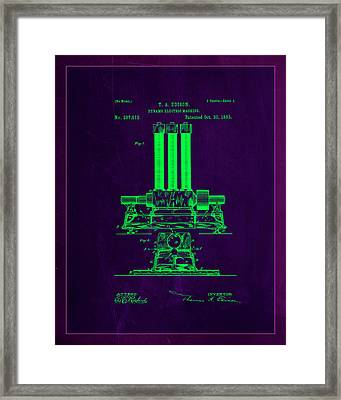 Dynamo Electric Machine Patent Drawing 1b Framed Print by Brian Reaves