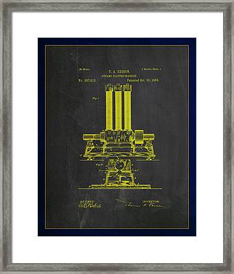 Dynamo Electric Machine Patent Drawing 1c Framed Print by Brian Reaves