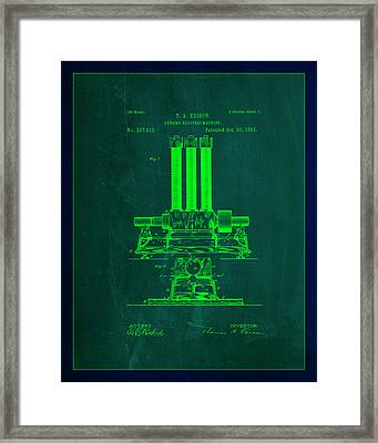 Dynamo Electric Machine Patent Drawing 1d Framed Print by Brian Reaves