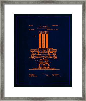 Dynamo Electric Machine Patent Drawing 1e Framed Print by Brian Reaves