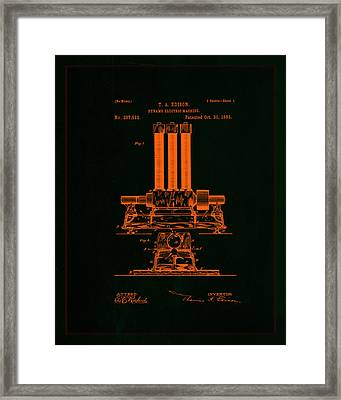 Dynamo Electric Machine Patent Drawing 1f Framed Print by Brian Reaves