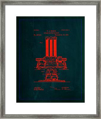 Dynamo Electric Machine Patent Drawing 1g Framed Print by Brian Reaves