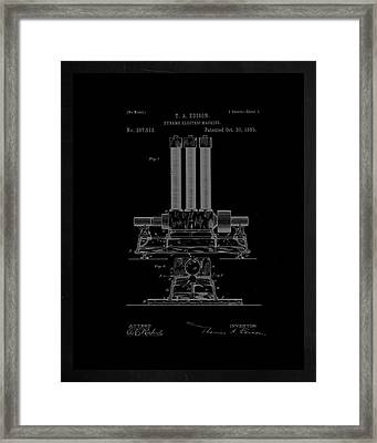 Dynamo Electric Machine Patent Drawing 1h Framed Print by Brian Reaves