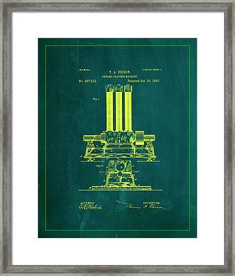 Dynamo Electric Machine Patent Drawing 1k Framed Print by Brian Reaves