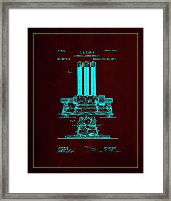 Dynamo Electric Machine Patent Drawing 1l Framed Print by Brian Reaves