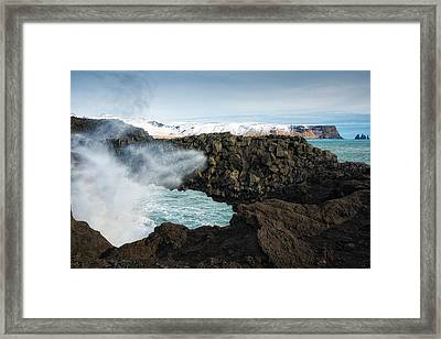 Framed Print featuring the photograph Dyrholaey Rock Arch Iceland by Matthias Hauser