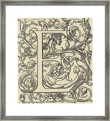 E Framed Print by French School