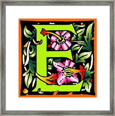 E In Green Framed Print by Kathleen Sepulveda