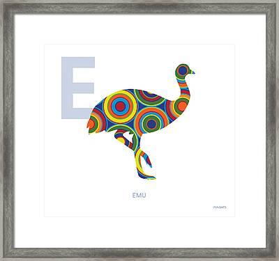 E Is For Emu Framed Print