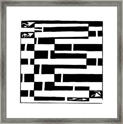E Maze Framed Print by Yonatan Frimer Maze Artist
