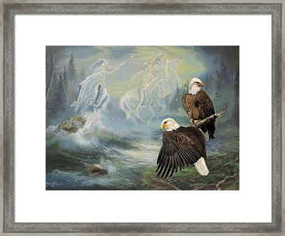 Eagels And Native American  Spirit Riders Framed Print