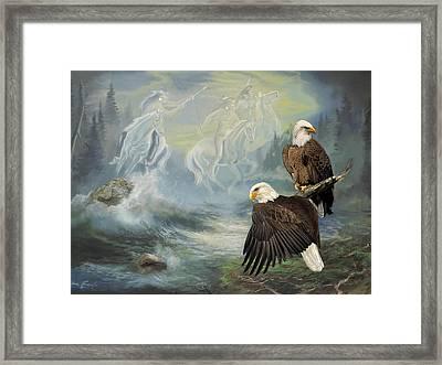 Eagels And Native American  Spirit Riders Framed Print by Regina Femrite