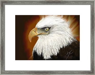 Framed Print featuring the digital art Eagle American by Darren Cannell