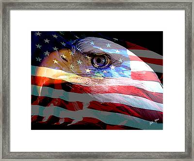 Eagle And Flag Framed Print by Tray Mead