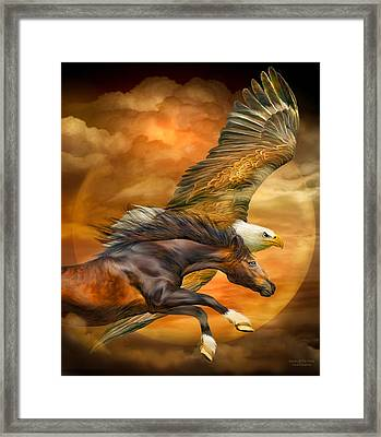 Eagle And Horse - Spirits Of The Wind Framed Print by Carol Cavalaris