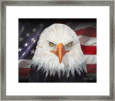 Eagle And The Flag Framed Print