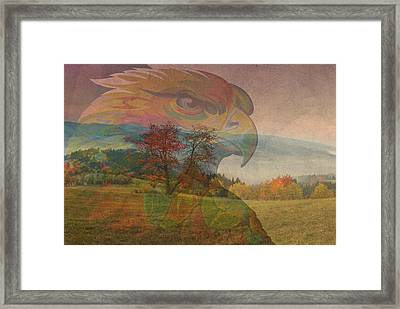 Eagle Art Over Gorgeous American Countryside Imagery Framed Print by Design Turnpike