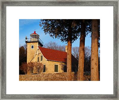 Eagle Bluff Lighthouse At Sunset Framed Print by David T Wilkinson