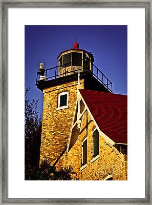 Eagle Bluff Lighthouse Of Door County Framed Print by Mark David Zahn
