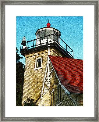 Eagle Bluff Lighthouse Re-imagined Framed Print by David T Wilkinson