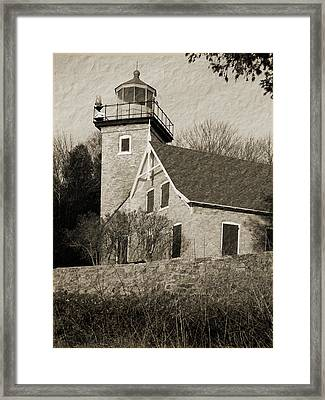 Eagle Bluff Lighthouse Sepia Framed Print by David T Wilkinson