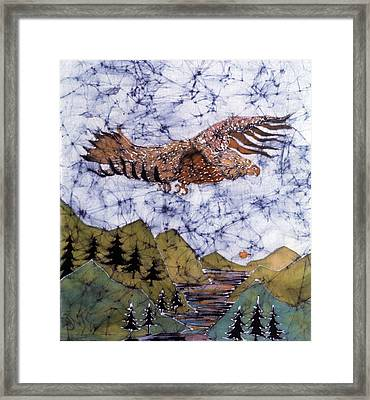 Eagle Flies Above Gorge Framed Print by Carol Law Conklin
