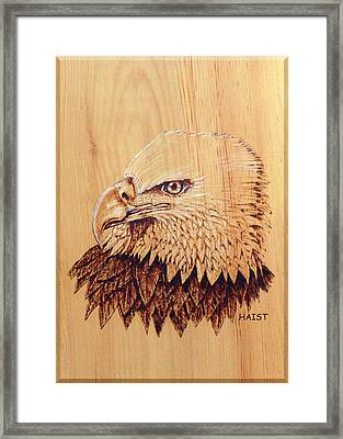 Framed Print featuring the pyrography Eagle Img 2 by Ron Haist