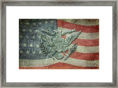 Framed Print featuring the digital art Eagle On American Flag by Randy Steele