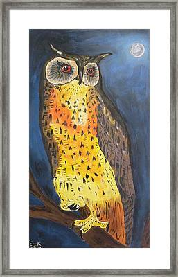 Framed Print featuring the painting Eagle Owl by Eric Kempson