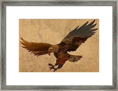 Eagle Patriotic Silhouette With American Countryside Scenery On Parchment Framed Print by Design Turnpike