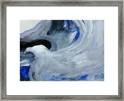 Eagle Riding On Waves Framed Print