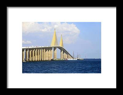 Sunshine Skyway Bridge Framed Prints