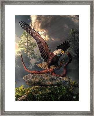 Eagle Vs Cobra Framed Print by Daniel Eskridge