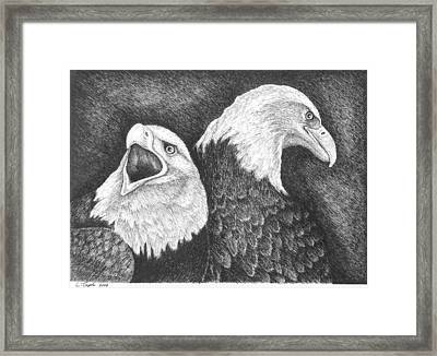 Eagles In Ink Framed Print