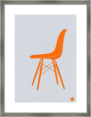 Eames Fiberglass Chair Orange Framed Print by Naxart Studio