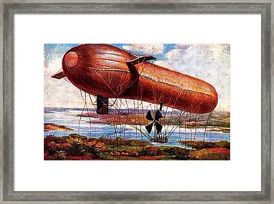 Framed Print featuring the painting Early 1900s Military Airship by Peter Gumaer Ogden