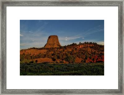 Early August Light Devils Tower Wyoming 02 Framed Print by Thomas Woolworth