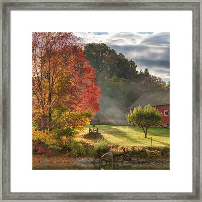 Early Autumn Morning Square Framed Print