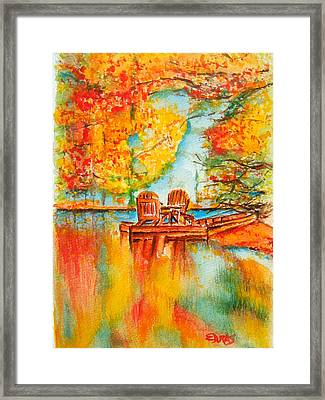 Early Autumn Reflections Framed Print by Elaine Duras