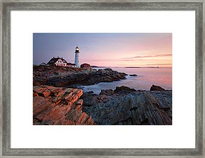 Early Dawn At Portland Head Lighthouse Framed Print by Eric Gendron